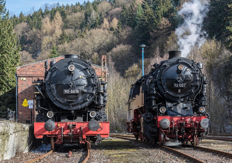 Mammut und 95 027 geben sich am historischen Lokschuppen des alten Bahnhofs Rübeland ein Stelldichein. (c) Klaus-Henning Damm